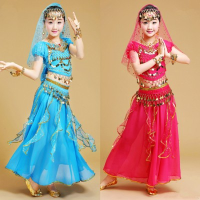 Children belly dance costumes turquoise yellow red stage performance Indian queen dancing cosplay dresses