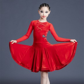 Children Black red latin dance costumes girls competition latin dresses Latin dance regulation competition suit velvet dress standard test dresses