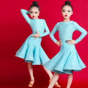 Children blue violet competition latin dance dresses girls Latin dance skirts  professional competition standard regulations costumes performance dresses