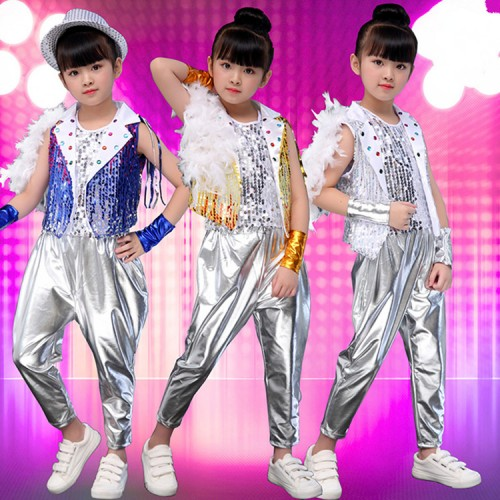 Children boys sequin jazz dance costumes royal blue silver paillette modern dance street hip hop drummer stage performance outfits