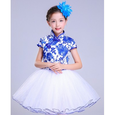 Children china style chorus singers dress stage performance process Chinese folk dancing cosplay costumes skirt