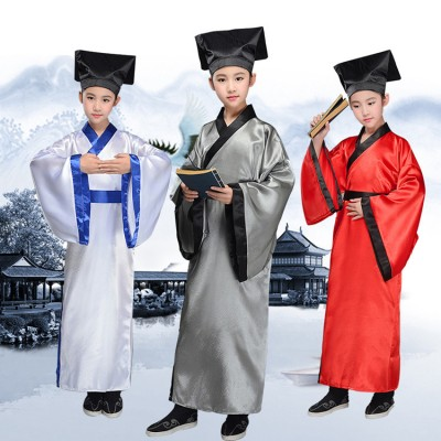 Children Chinese ancient traditional drama cosplay hanfu for boy girls Chinese dresses three characters competition student  school  uniforms