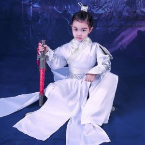 Children Chinese ancient traditional outfits for boys girls Chinese school swordsmen warrior drama cosplay robes dresses