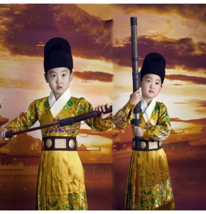 Children Chinese ancient traditional stage performance costumes for boys tang dynasty emperor drama cosplay studio photography dragon robes
