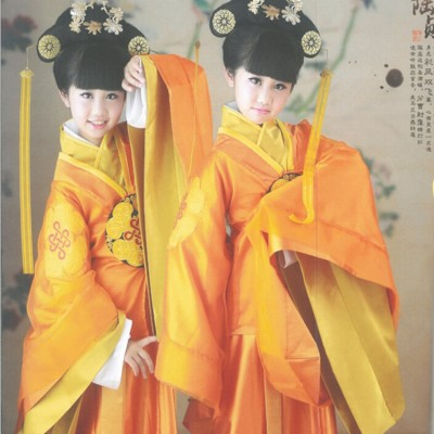Children Chinese ancient traditional stage performance costumes outfits tang dynasty princess photography drama cosplay dress robes