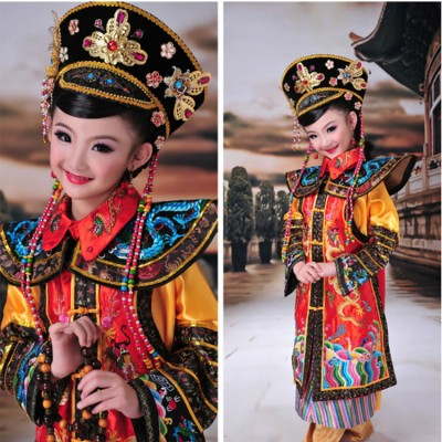Children chinese ancient traditional stage performance costumes qing dynasty empress drama film studio  photography cosplay dragon robes dresses
