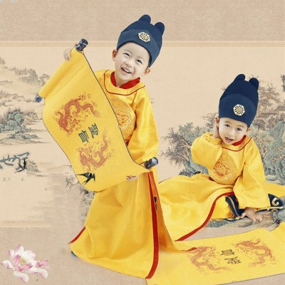 Children chinese folk costumes for boy ancient traditional lishimin Tang Qing dynasty emperor drama photography cosplay performance dresses dragon robes