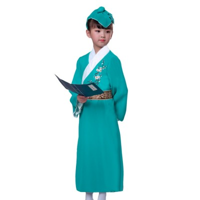 Children chinese folk dance costumes ancient traditional fairy hanfu green colored Confucius school performance robes dress