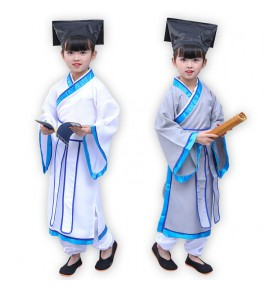 Children Chinese folk dance costumes ancient traditional hanfu dresses for girls boys three characters Confucius student cosplay clothes