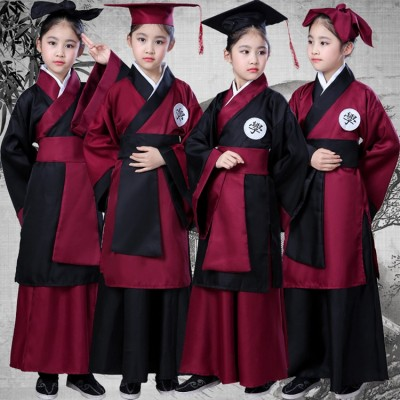 Children chinese folk dance costumes ancient traditional hanfu scholar graduation photography drama cosplay clothes dress