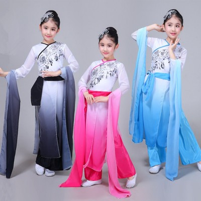 Children Chinese folk dance costumes ancient traditional water sleeves fairy cosplay hanfu yangko fan umbrella dance dresses