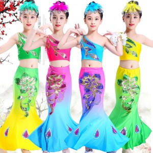Children Chinese folk dance costumes belly dance mermaid dress kids girls peacock modern dance dresses drama cosplay dress