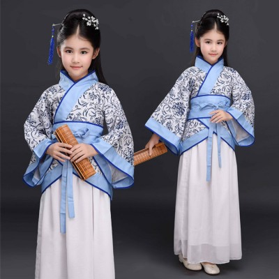 Children chinese folk dance costumes blue and white ancient traditional classical cosplay hanfu halloween christmas party cosplay fairy dresses