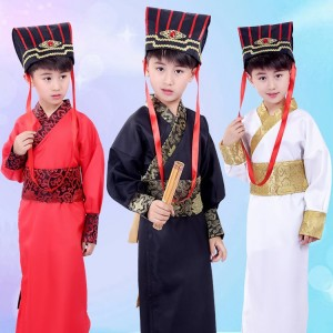 Children chinese folk dance costumes  boy's children ancient traditional hanfu warrior swordsmen stage performance cosplay kimono robes dress