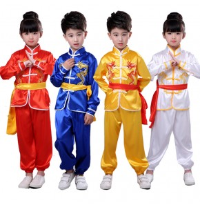 Children chinese folk dance costumes boys girls ancient traditional chinese taichi kunfu martial wushu stage school competition outfits