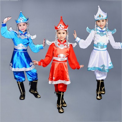 Children Chinese folk dance costumes boys girls red blue Mongolian  ancient traditional stage performance robes clothes