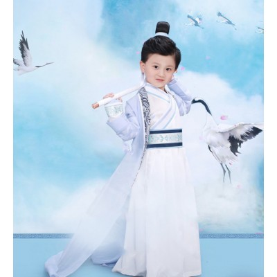 Children chinese folk dance costumes boys traditional ancient hanfu warrior knight swordsmen china school stage performance cosplay robes dress
