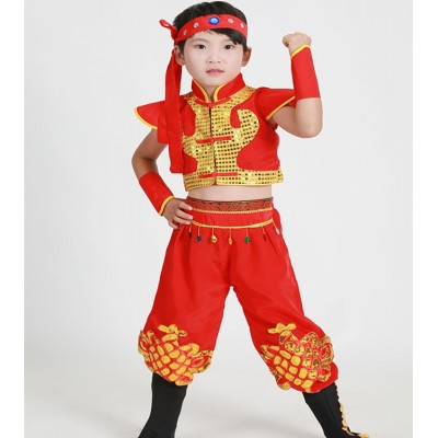 Children Chinese folk dance costumes dragon style boys kids  ancient yangko drummer stage performance tops and pants