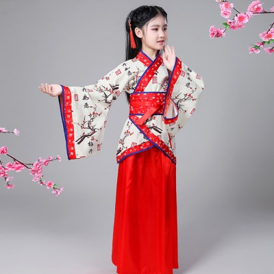 Children chinese folk dance costumes for girls red color ancient scholar Confucius drama cosplay hanfu zheng stage performance dresses