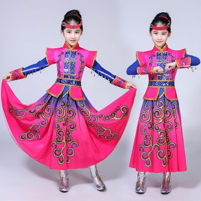 Children Chinese folk dance costumes fuchsia ancient traditional Mongolian stage performance drama cosplay robes dresses