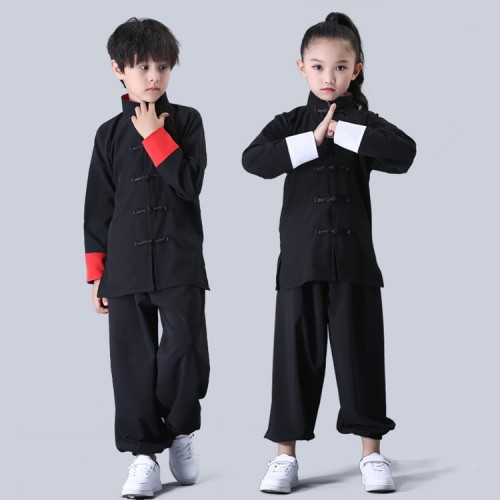 Children chinese folk dance costumes girls boys kungfu martial wushu taichi school competition stage performance tops and pants