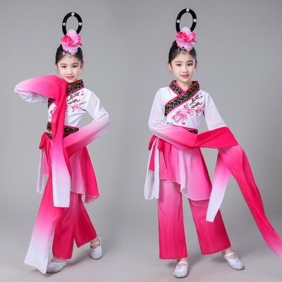 Children chinese folk dance costumes hanfu fairy water sleeves cosplay dresses yangko umbrella classical dance costume