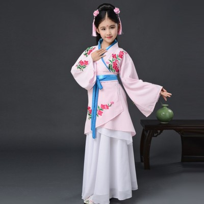 Children chinese folk dance costumes hanfu princess fairy ancient traditional stage performance drama cosplay robes clothes dress