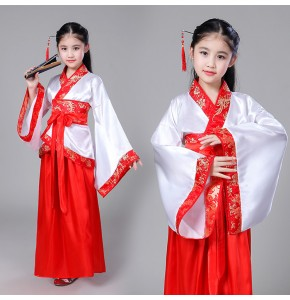 Children chinese folk dance costumes hanfu tang dynasty princess fairy drama photos studio cosplay dresses robes