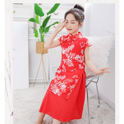 children chinese folk dance costumes kids model show chinese dresses shooting stage performance drama cosplay cheongsam dress