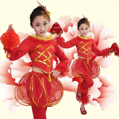 Children chinese folk dance costumes  new year celebration china lantern  stage performance yangko dance dress for girls