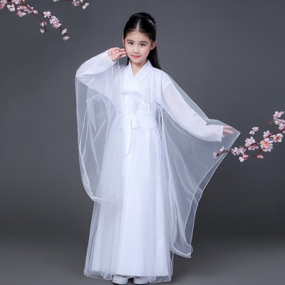 Children chinese folk dance costumes white fairy ancient traditional classical stage performance drama cosplay dance dresses