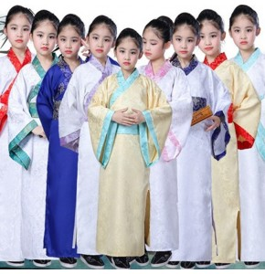 Children chinese folk dance dresses hanfu for girls children stage performance Confucius school student cosplay kimono robes dress