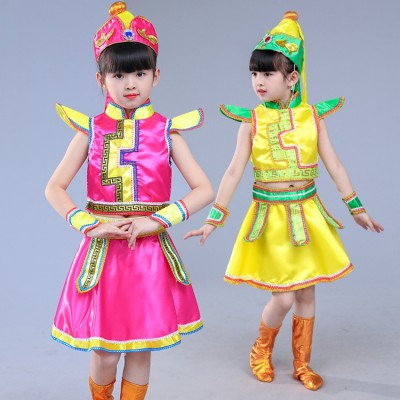 Children Chinese folk  Mongolian dance costumes yellow fuchsia minority Mongolia stage performance drama cosplay dresses