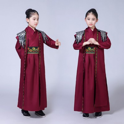 Children Chinese traditional stage performance hanfu wine colored warrior swordsmen knight cosplay photos china school dresses