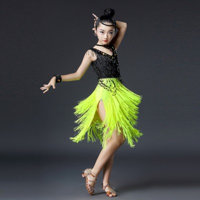 Children competition latin dresses neon green black white violet rhinestones fringes professional rumba samba dancing costumes