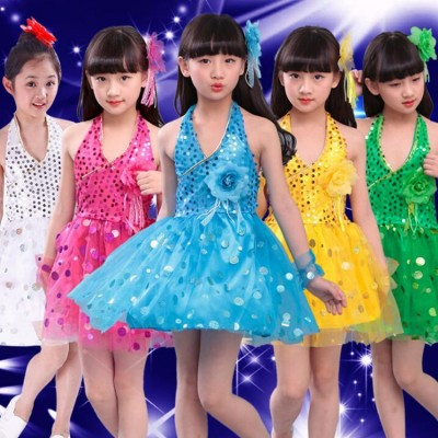 Children Dress Party DAnce Clothes Girls Clothing Infant Modern Jazz Dance Performance Costumes Sequined Veil Choral Costumes