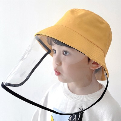 Children fisherman's cap with clear face shield anti-spray saliva dust virus proof protective hat for girls boys