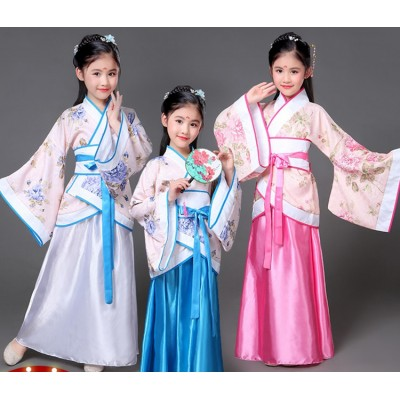 Children folk dance costumes for girls kids stage performance blue pink ancient fairy drama cosplay school competition robes dress