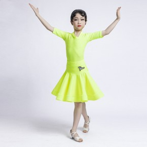 Children fuchsia neon yellow Latin Dance Costumes girls competition Standard Competition Examination latin dance dresses Regulations ballroom Costumes