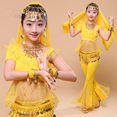 Children girls belly dance costumes modern dance stage performance belly dresses