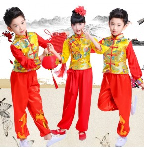 Children  girls boy's chinese folk dance costumes china dragon pattern style stage performance yangko dance dress tops and pants