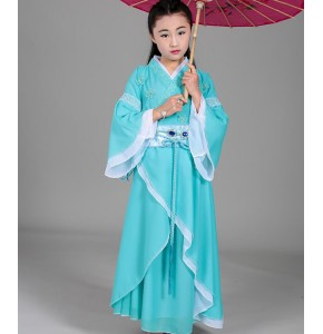 Children girls Chinese folk dance costumes for  hanfu ancient traditional hanfu fairy princess photography cosplay robes dresses