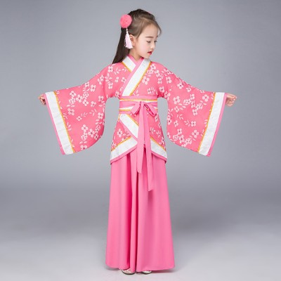 Children girls Chinese folk dance hanfu dresses ancient traditional fairy drama princess cosplay stage performance costumes robes