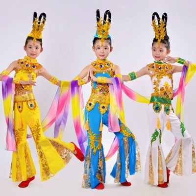 Children girls chinse folk dance costumes fairy Guanyin flying dance national dance clothes Dunhuang dance performance clothing