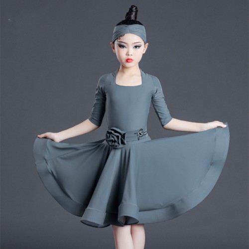 Children girls wine gray silver competition Latin Dance Clothing  kids latin dance Dresses Standard competition latin dance Clothing ballroom dance dresses