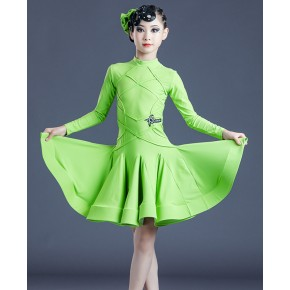 Children green orange latin dance costumes Girls professional latin dance competition Dress examination standard latin dance skirts