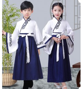 Children hanfu chinese folk dance costumes school boy girls competition stage performance princess kimono dresses