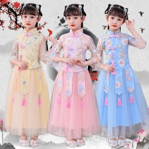 Children hanfu chinese traditional princess drama cosplay dress model show stage performance fairy dress