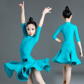 Children hot pink blue Latin dance skirt girls latin dance costume dance dress competition test Latin performance costumes