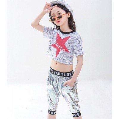 Children jazz dance costumes boy girls modern street hiphop cheerleaders dance outfits